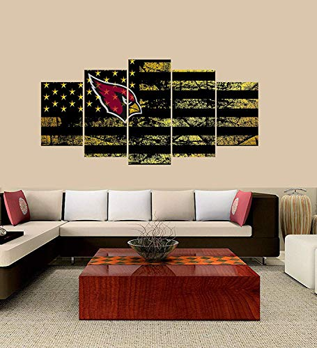 - XINGAKA Premium Quality XINGAKAed Wall 5 Pieces / 5 Pannel Wall Decor Arizona Cardinals Logo Painting, Home Decor Football Sport Pictures