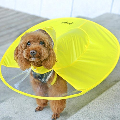 Alalaso Dog Yellow Raincoat Waterproof Cloak Umbrella All-Inclusive Pet Poncho (XL)
