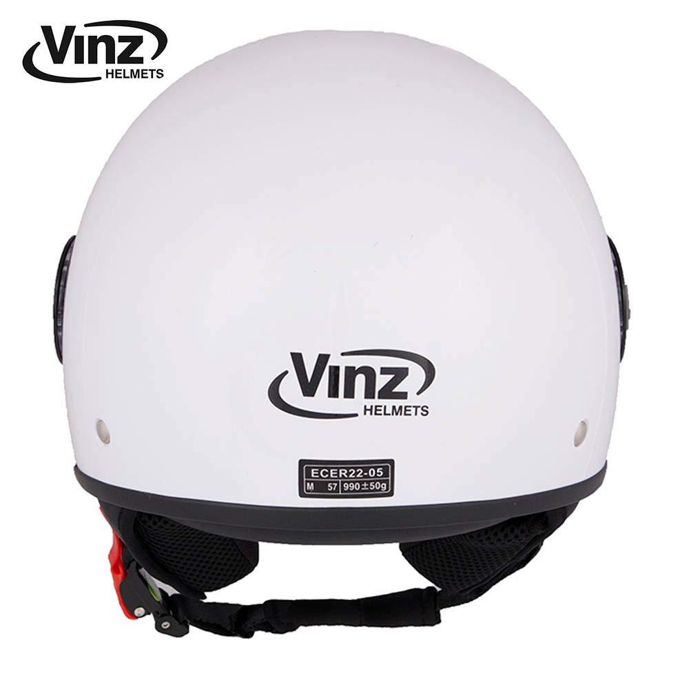 XS 53-54 cm Jet Roller Motorrad Helm Helm mit Visier ECE zertifiziert in Gr Vinz Rollerhelm Jethelm Basic XS-XL , Wei/ß
