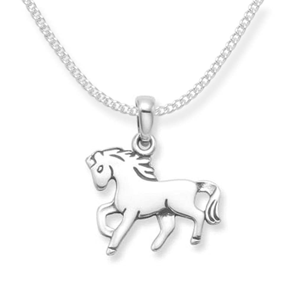 925 Sterling Silver Childrens Horse Necklace on 15