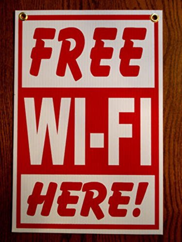 (1Pc First-Rate Unique Free Wi-Fi Here Sign Outdoor Message Plastic Coroplast Indoor Decal Holder Internet Password Signs Wifi Retail Property Hanger Decor Business Store Board Size 8