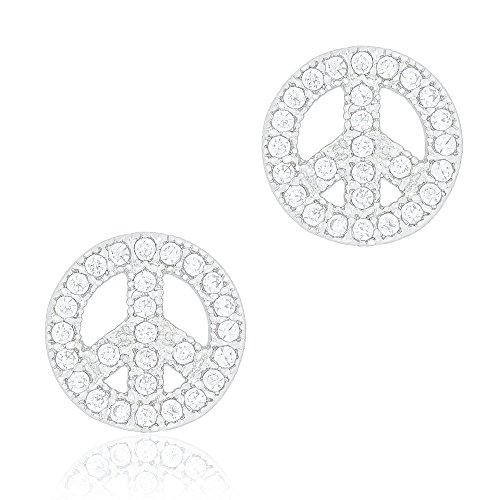 ORROUS & CO Legacy Collection 18K White Gold Plated Cubic Zirconia Peace Unisex Stud Earrings