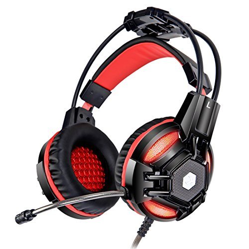 XIBERIA E2 3.5mm Lightweight Comfortable Over-ear Bass Stereo Wired PC Gaming Headset with Microphone- Red&Black (Msi Headset)