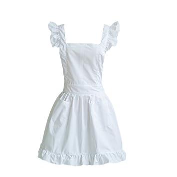 TININNA Mujer Mujeres Vintage Servicio niña algodón Toalla Delantal de Cocina Delantal Blanco weiß: Amazon.es: Hogar