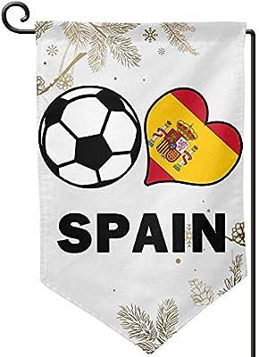 Fútbol Corazón Fútbol España Bandera Jardín Bandera Gráfico Interior Bandera 12.5 x 18 Sharp Corner: Amazon.es: Jardín