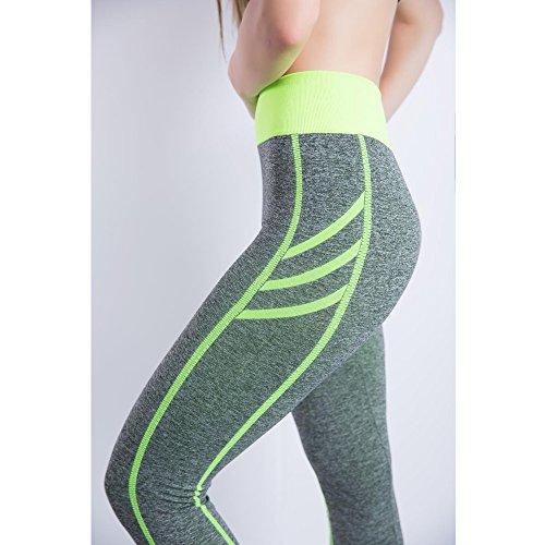 Senza Stripe In Fitness Di Tre Yoga Continuità Pantaloni Esecuzione Donne Bozevon Soluzione Verde Sexy Leggings Stretto gwxq447t