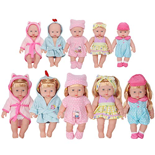 - Huang Cheng Toys 12-inch Doll Set of 5 Handmade Lovely Bathrobe Dress Clothes Outfits Costumes