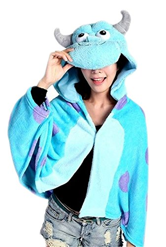 [King Ma Women's Anime Costume Cosplay Cape Shawl Coral Fleece Hoodie Cloak] (Monster University Costumes)