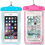 1Pack Blue+1Pack Pink Universal Waterproof Phone Case Dry Bag CaseHQ for iPhone 4/5/6/6s/6plus/6splus Samsung Galaxy s3/s4/s5/s6 etc. Waterproof,Snow Proof Pouch for Cell Phone up to 5.7 inches