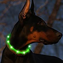 Led Dog Collar USB Rechargeable Glowing Pet Safety Collars Water Resistant Light up Improved Dog Visibility & Safety Adjustable Flashing Collar for Dogs 6 Stylish Colors by Bseen (Green)