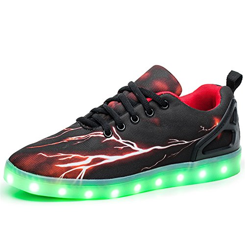 Men Women Kids LED Shoes 7-Color-Lights USB Charging Light up Sneakers - Orange-02 27/10 M US Toddler