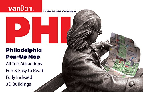 Philadelphia Pop-Up Map by VanDam -- Laminated City Center pop-up map with complete Septa Transit map & independence Nat Park detail, 2016 - City Center Park Map