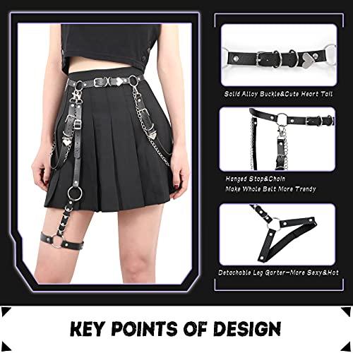 WERFORU Women Punk PU Leather Chain Belt Ladies Gothic Rock Waist Belt with Leg Harness Garter, Belt Suit for Waist Size 26-39 Inches, Leg Garter Suit for Thigh Girth below 61 Inches