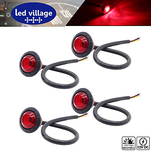 [Pack of 4] LedVillage 3/4 Inch Round Red LED Bullet Shape Side Marker Light Stop Rear Tail with Rubber for Truck Bus Camper Pickup Trailer RV Van Lorry Jeep SUV 12V DC 3 Diodes Multi-Function 3led-HL (Amber Lens Red Body)