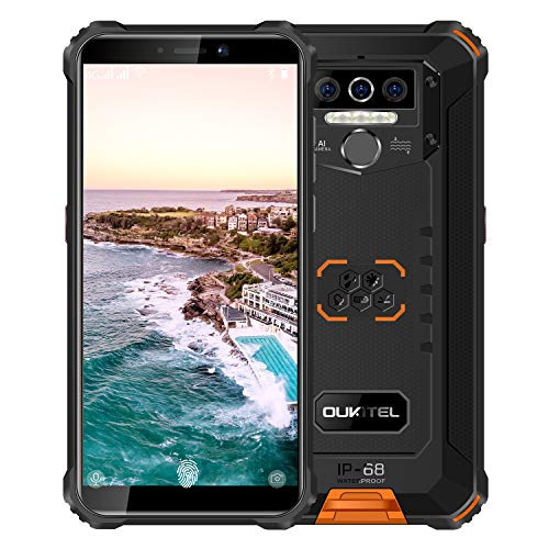 Rugged Smartphone Unlocked OUKITEL WP5(2020) Android 10 Cell Phone 8000mAh Battery 4GB+32GB Triple Camera 4 LED Flashlights IP68 Waterproof Phones 5.5 Inch Dual Sim GSM 4G, GPS, Bluetooth, WiFi