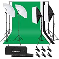 CRAPHY Photography Studio Lighting Kit - 800W 5500K Umbrellas Soft Box Continuous Lights Equipment + Backdrop Support System (8.5x10FT Background Stand + 6x9FT Muslin Backdrop Black/White/Green)