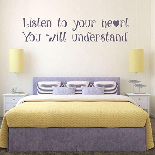 Disney Quote Wall Decals, Listen to Your Heart, Vinyl Wall Decals, Teenage Girls Room Decor, Master Bedroom Wall Art, Pocahontas, Friendship Gift
