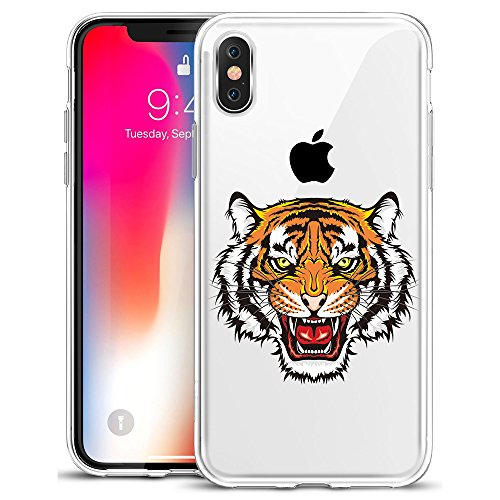 (GoldSwift Clear Case with Designed for iPhone Xs and iPhone X (Tiger Head Tattoo) )