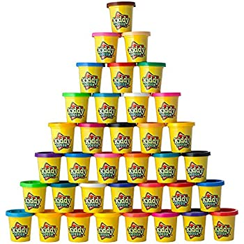 Kiddy Dough 36 Pack of Color Play Dough - Mega Modeling & Sculpting Playset With 36 Individual 3-Ounce Cans Exclusive Bulk Party Pack