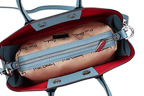 Tasche damen mit schultergurt PIERRE CARDIN bleu leder Made in Italy VN1145