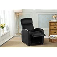 Reclining Accent Chair for Living Room, Faux Leather Cushioned Arm Chair (Black)