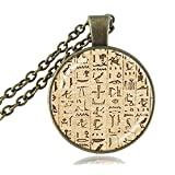Egyptian Hieroglyphics Necklace Muslim Paper Egypt Writing Photo Pendant Ancient Egypt Jewelry Accessory