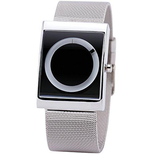 2015-Unique-No-Hand-Concise-Casual-Designer-Men-Unisex-Quartz-Grey-Square-Dial-White-Rotational-Display-Gift-Box