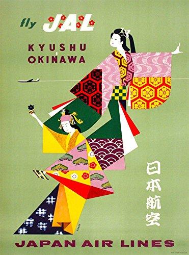 MAGNET Fly JAL Kyushu Okinawa Japan Airlines Vintage Travel Advertisement Magnet Print