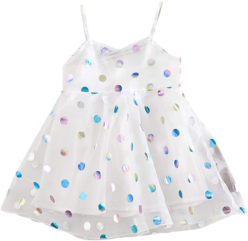 Shimigy Toddler Baby Kids Girls Strap Dot Tulle Dress Princess Dresses Clothes