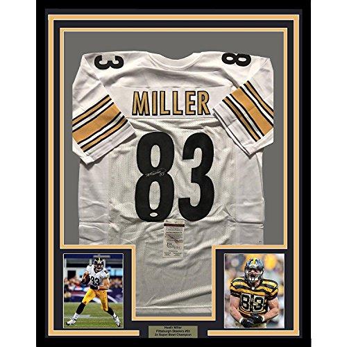 Autographed Heath Miller Jersey - FRAMED 33x42 White COA - JSA Certified - Autographed NFL Jerseys ()