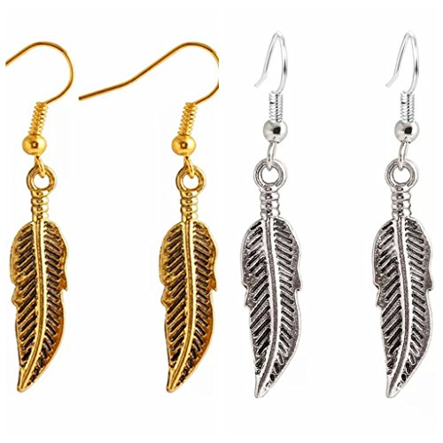 (MOMEPE 2 Pairs Vintage Feather Leaf Pendant Simple Dangle Pierced Earrings Mix)