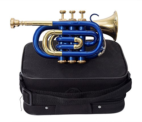 CHRISTMAS GIFT POCKET TRUMPET Bb PITCH BLUE COLORED WITH FREE HARD CASE + MP