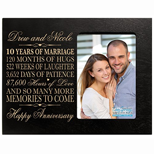 Personalized ten year anniversary gift her him couple Custom Engraved 10th year wedding celebration for husband wife girlfriend boyfriend frame holds 4x6 photo by DaySpring International (Black)