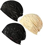 LOLIAS 3 Pack Women's Cotton Beanie Chemo Caps Lightweight Lace Turban Slouchy Soft