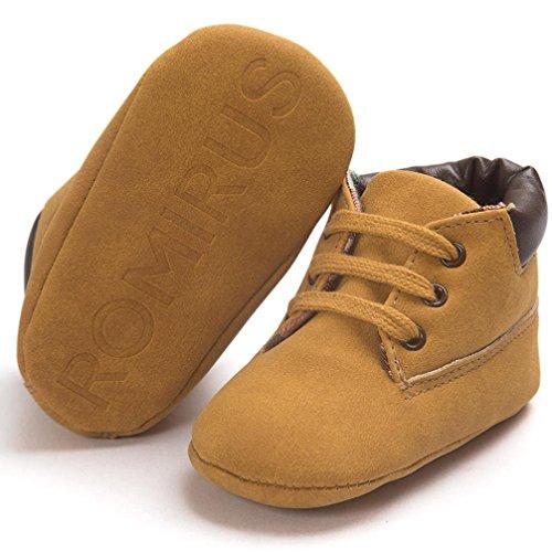 Zapatos de bebé, RETUROM zapatos de bebé de cuero de los zapatos de suela Nueva caliente de algodón suave del niño del bebé suaves marrón