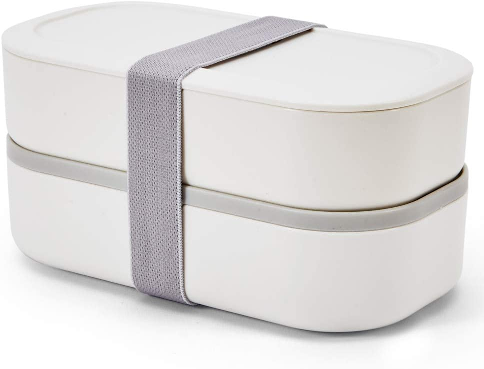 Bento Box for Adults,Japanese Bento Lunch Box,Stackable Bento Box,with Divider,Leak-Proof,Lunch Box BPA-Free, Microwave and Dishwasher Safe,Easy Wash (White)