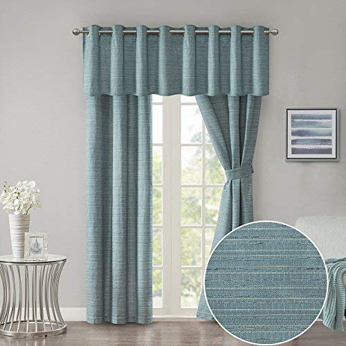 Room Darkening Window Curtains + Window Valance 63 inch Length Window Panel Teal - Window Treatment 5 Piece Set Grommet Drapes - Grasscloth Energy Efficient - incl Window Panels Tie Backs Valance