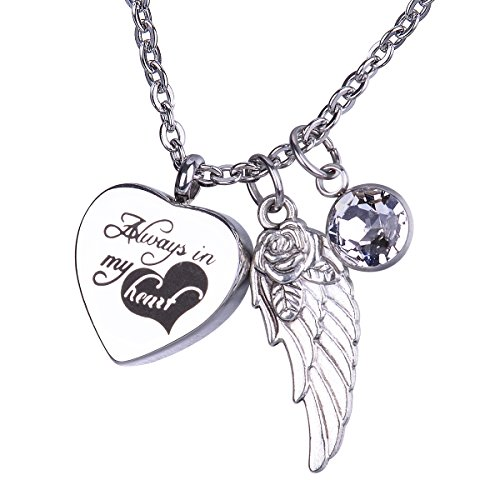 BS Heart Urn Keepsake with April Birthstone Angel's Wing Pendant Necklace Memorial Ash Cremation Jewelry - Always in My Heart