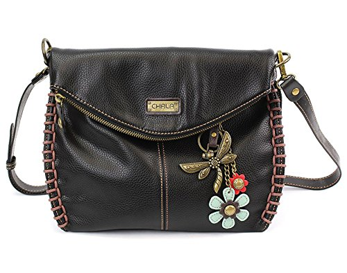 Chala Dragonfly Top and Zipper Charming Black or With Handbag Flap Bag Crossbody Shoulder rfrq1