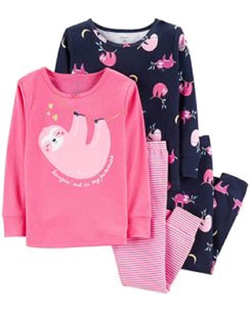 Carter's Girls Pajamas PJs 4pc Cotton Snug Sloth with Glitter Hearts Set
