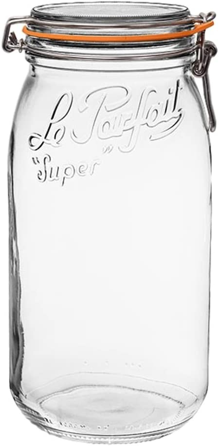 Le Parfait Super Jar - 3L French Glass Canning Jar w/Round Body, Airtight Rubber Seal & Glass Lid, 96oz/3 Quarts (Pack of 3) Stainless Wire