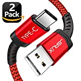 #10: USB Type C Cable,JSAUX(2-Pack 6.6FT) USB A 2.0 to USB-C Fast Charger Nylon Braided USB C Cable for Samsung Galaxy S9 S8 plus Note 8,Moto Z Z2,LG V30 V20 G5 G6,Google Pixel XL,other USB C devices(Red)