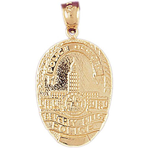 14K Yellow Gold Beverly Hills Police Pendant Necklace - 30 mm Beverly Hills Gold Jewelry