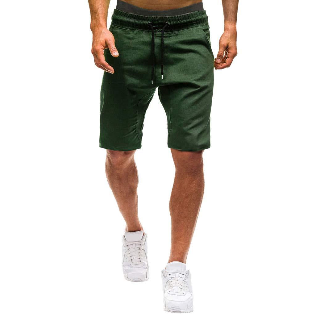 Shorts for Men, F_Gotal Men's Casual Plain Drawstring Elastic Waist Sports Pants Training Jogger Shorts Sweatpants Army Green