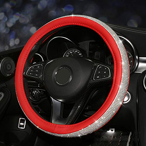 Milemelo Crystal Steering Wheel Cover,with Leather Bling Bling Rhinestones Handcraft Steering Wheel Covers for Girls Silver ()