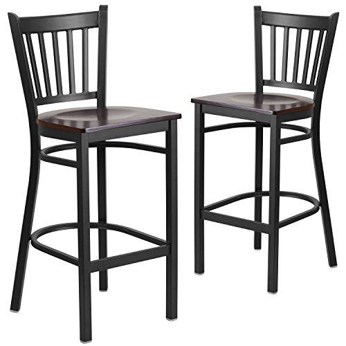 Vertical Metal (Flash Furniture 2 Pk. HERCULES Series Black Vertical Back Metal Restaurant Barstool - Walnut Wood Seat)