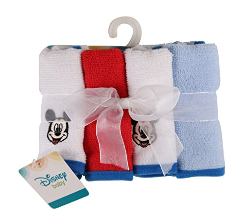 Disney Mickey Mouse Stripes Washcloth Set, Blue