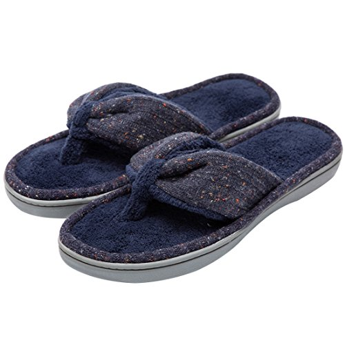 Women's Soft & Comfy Knitted Plush Fleece Lining Memory Foam Spa Thong Flip Flops House Slippers (Large/9-10 B(M) US, Navy Blue) by HomeTop