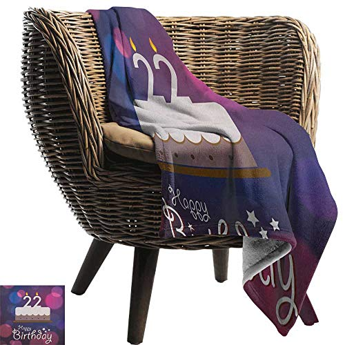AndyTours Summer Blanket,22nd Birthday,Vibrant Greeting Bokeh Style Backdrop and Surprise Party Cake Image, Fuchsia Dark Blue,Lightweight Breathable Flannel Fabric,Machine Washable 30