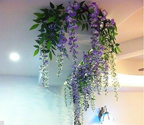 Realistic Romantic Classic Artificial Fake Wisteria Vine Ratta Silk Flowers for Garden Floral Decoration DIY Living Room Hanging Flower Plant Vine Home Party Wedding Simulation Decor (White)